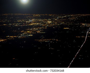 aerial view of city lights at night time