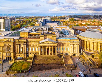 Aerial view of the city of Liverpool in United Kingdom