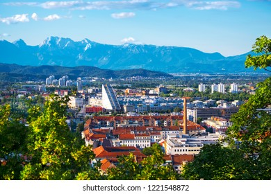 Aerial view of city Ljubljana, the political and cultural heart of the Slovenian nation. Modern and pretty town in he centre of Europe