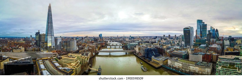 Aerial view of the City of London, the historic centre and the primary central business district, UK
