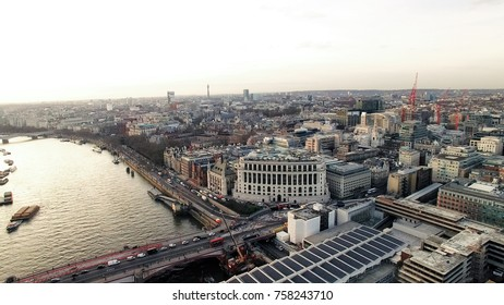 Aerial View City of London and River Thames in Rush Time Cars Passing on a Blackfriars Bridge around the Station