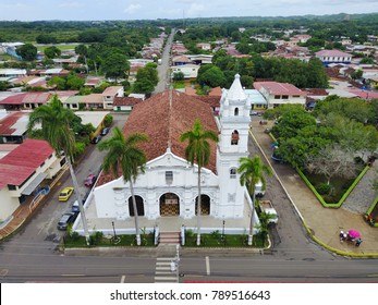Aerial view of the City of Los Santos in Panama showing the Church of Saint Athanasius in teh foreground
