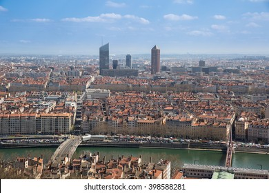 Aerial view of the city of Lyon, France.