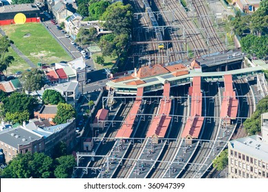 Aerial view of city major train station.