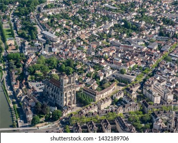 aerial view of the city of Mantes-la-Jolie and its collegiate church in the department of Yvelines in France