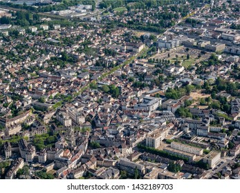 aerial view of the city of Mantes-la-Jolie in the department of Yvelines in France