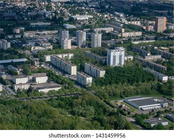 aerial view of the city of Mantes-la-Jolie at the west of Paris