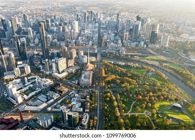 Aerial view of the city of Melbourne, Australia.