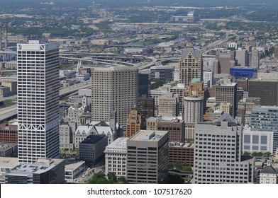 Aerial view of city, Milwaukee Wisconsin