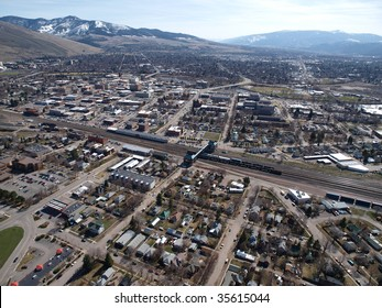 Aerial view of the city of Missoula Montana.