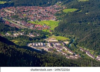 aerial view to city Mittenwald in Bavaria, germany