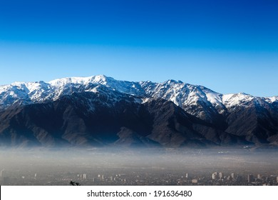 Aerial view of a city with mountain in the background, Andes, Santiago, Chile
