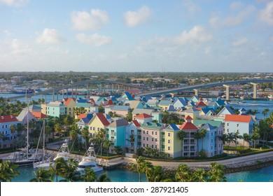 Aerial view of the city of Nassau, USA