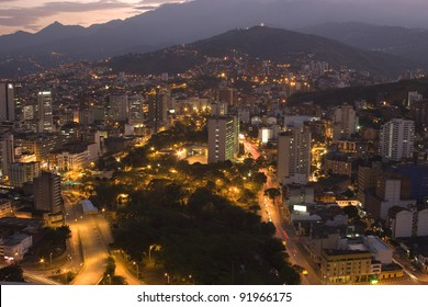 Aerial View Of City Night, Modern Urban City At Night