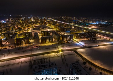 Aerial view of the city at night.  Winter landscape.