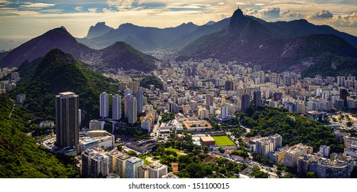 Aerial view of a city on a hill, Rio De Janeiro, Brazil