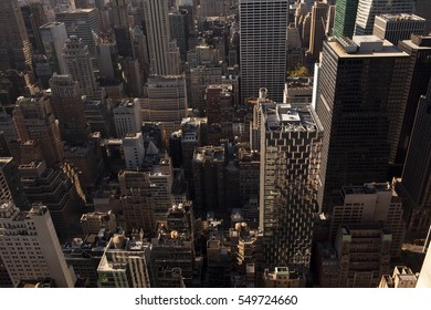 Aerial view of a city on a sunny day