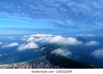 Aerial view of a city over clouds. Fantastic landscape. Great aerial view. Arraial do Cabo, Brazil
