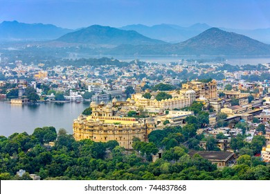 Aerial view of City Palace. Udaipur, Rajasthan, India