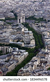 Aerial View of the city of Paris and the Arch of Triumph from the Eiffel Tower, Paris, France