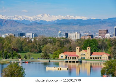Aerial view of City Park Pavilion with beautiful reflection at Denver, Colorado