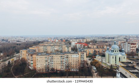Aerial view of city, park, road from a bird's eye view. Ukraine Ternopil