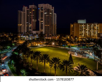 Aerial view of city park in South Florida at night