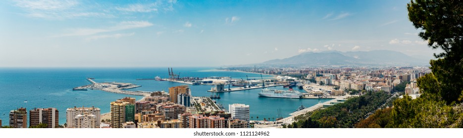 Aerial view of city and Port of Malaga, Spain.