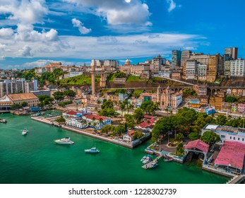 Aerial view of city salvador Elavator lacerda in bahia brazil