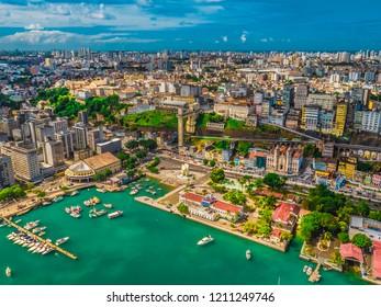 Aerial view of city salvador lacerda in bahia brazil