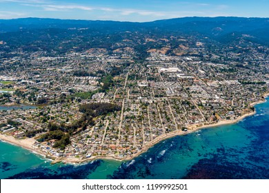 The aerial view of the city of Santa Cruz in Northern California on a sunny day.