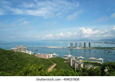 Aerial view of the city of Sanya, Hainan island, China