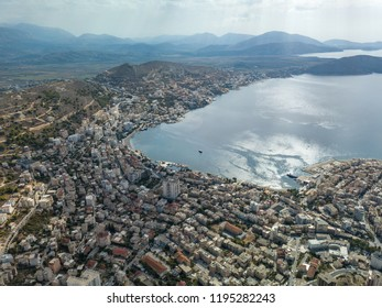 Aerial view of the city of Saranda in Albania (Vlora)
