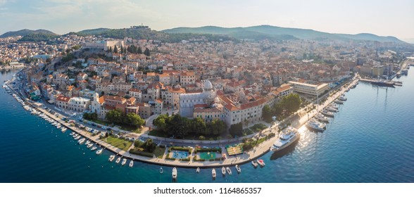 Aerial view of the city of Sibenik in the summer morning, Croati