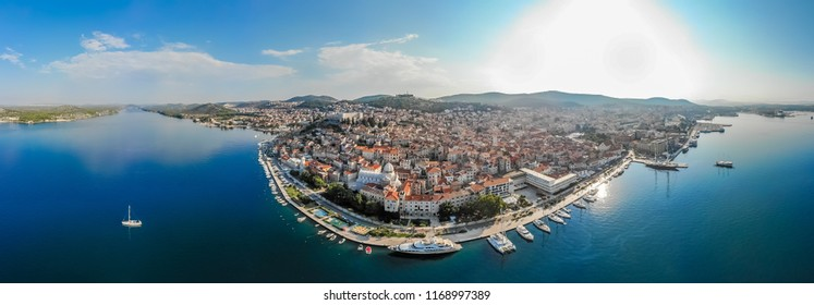 Aerial view of the city of Sibenik in the summer morning, Croatia