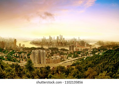 Aerial view of the city skyline, Chongqing, China.