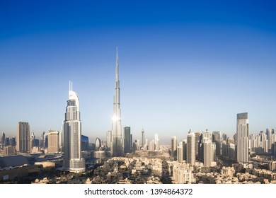 Aerial view of city skyline and cityscape in Dubai