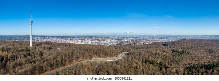 Aerial view of the city of Stuttgart and the television towers, Germany