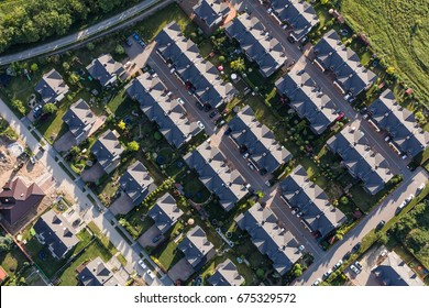 aerial view of the city suburbs near Wroclaw in Poland