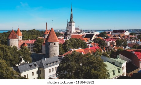 Aerial view of the city of Tallinn, Estonia. Historical medieval zone