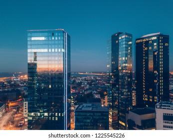 Aerial view of city Tallinn, Estonia Business District