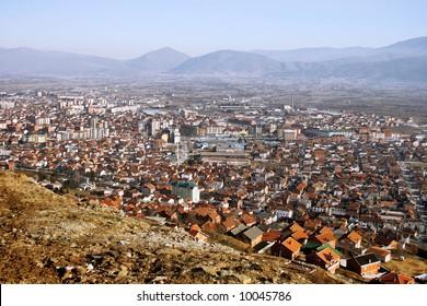 Aerial view of city of Tetovo, Macedonia
