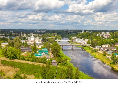 Aerial view of the city of Torzhok. Panorama of the city. The Entrance-Jerusalem church and Transfiguration Cathedral