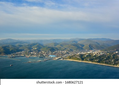 Aerial view of the city of Tuapse and the Black Sea