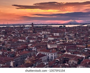 aerial view of the city of Venice, during a sunset in summer