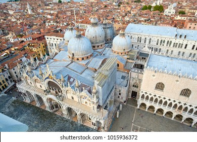 Aerial view of the city of Venice with St Marks Basilica and the Doge Palace