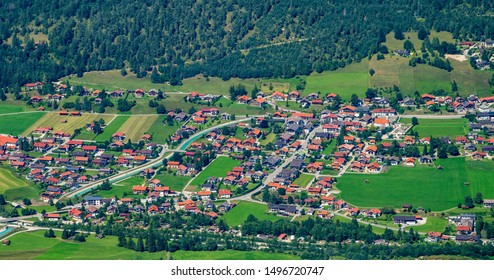 aerial view to city Wallgau in Bavaria, Germany