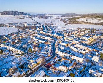 Aerial view of city in winter. Svihov in snowy landscape, national park Sumava, Czech republic, European union.