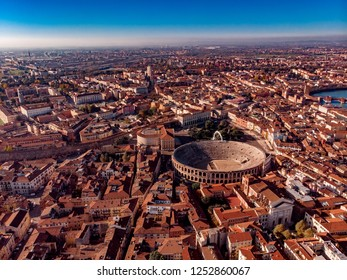 Aerial view Cityscape Arena of Verona city and Arena, Italy drone.