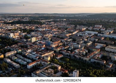 Aerial view of cityscape of Brno, Czech Republic.